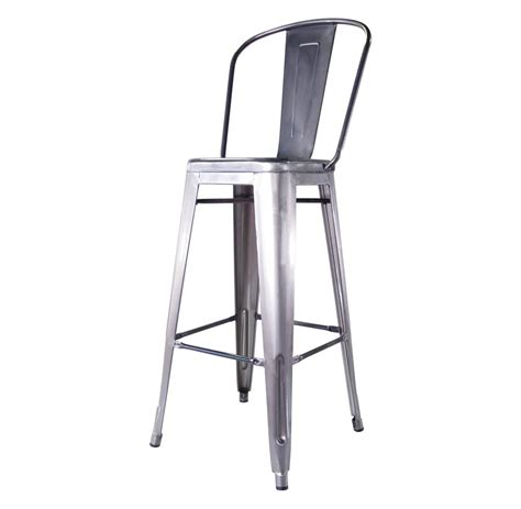 french industrial bar stools bouchon french industrial steel cafe bar stool with back
