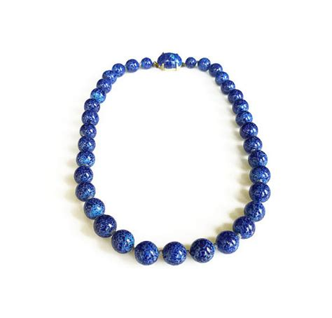 blue lapis bead necklace lapis glass bead necklace cobalt blue single by zephyrvintage