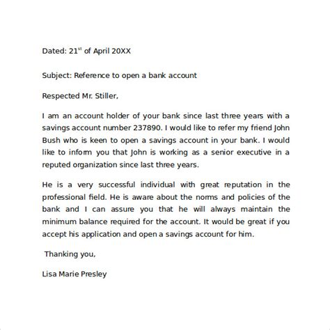recommendation letter format for bank reference letter format 9 free documents in