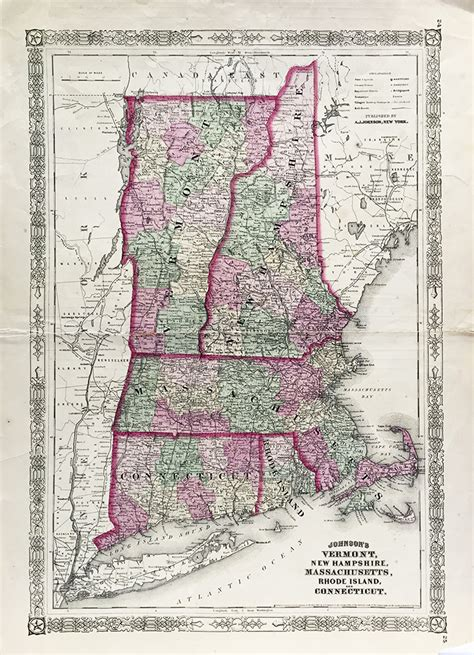 map of maine new hshire vermont massachusetts rhode island and connecticut world vermont new hshire massachusetts connecticut state map 1864