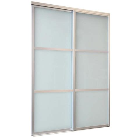 Glass Sliding Closet Door Shop Reliabilt White 3 Lite Laminated Glass Sliding Closet Interior Door Common 48 In X 80 In