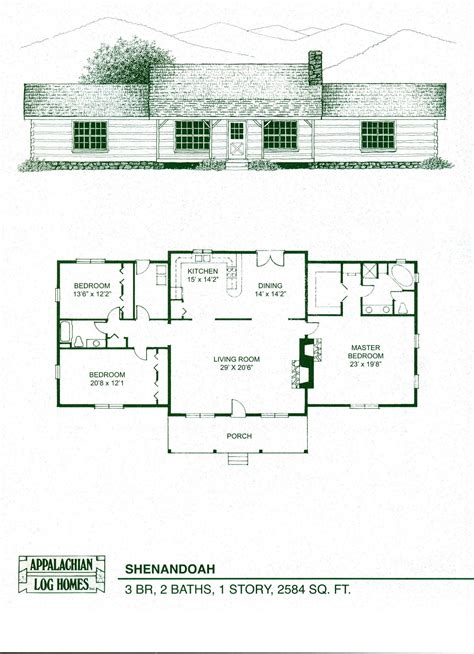 log cabin ranch floor plans log home package kits log cabin kits shenandoah model