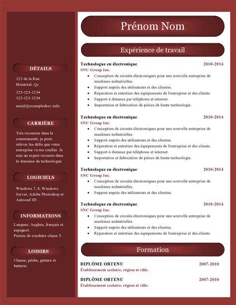 Exemple De Lettre De Motivation Couvreur Zingueur modele cv gratuit couleur