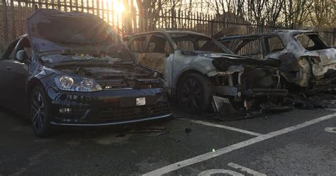 cars destroyed  suspected arson attack   trafford dealership manchester
