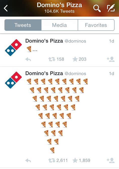 domino pizza twitter domino s pizza debuts pizza emoji tweet to order pizza