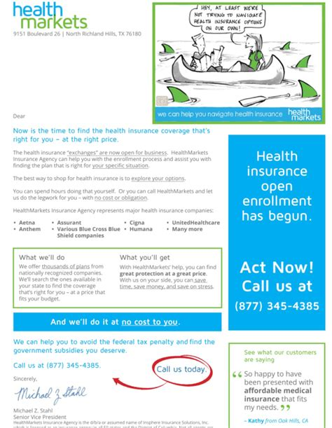 Health Insurance Marketing Letters Healthmarkets