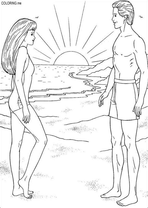 barbie beach coloring pages coloring page barbie and ken on the beach coloring me