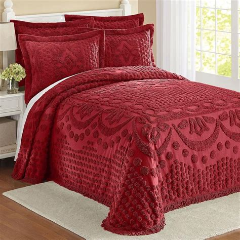 cotton chenille bedspread with latticework burgundy in twin full queen king ebay
