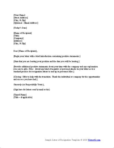 templates for letters of resignation resignation letter template