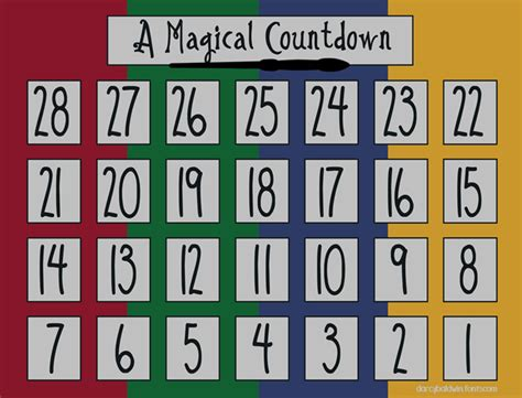 printable calendar countdown magical printable darcy baldwin fonts