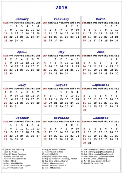 printable year calendar 2018 with holidays 2018 printable calendar with us uk holidays free