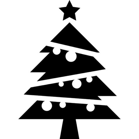 christmas tree text symbol tree with balls and a on top icons free