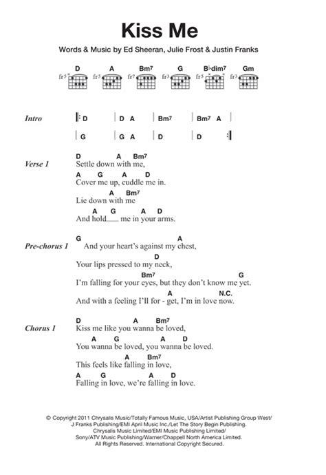 ed sheeran kiss me lyrics kiss me sheet music by ed sheeran lyrics chords 121039