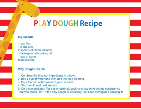 printable playdough recipes homemade play dough how to