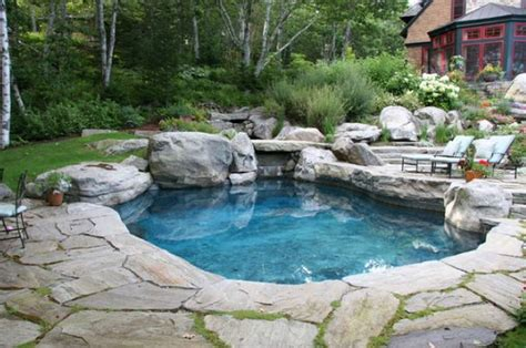 Pond designs with waterfalls, natural stone swimming pool