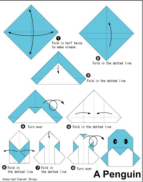 Simple Origami For Printable - origami penguin fold crease money