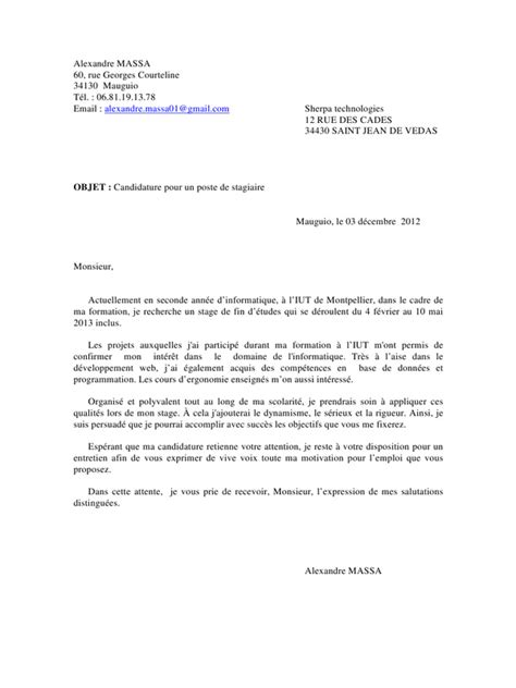 Modã Les Lettre De Motivation D ã Tã Cover Letter Exle Exemple De Lettre De Motivation Pour Iut