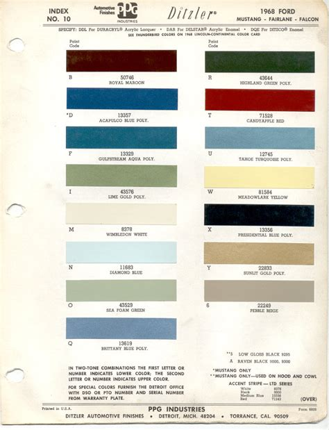quot paint chips 1968 ford quot mustang torino truck line using quot highland green poly quot aka bullit