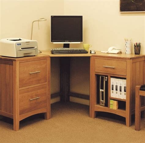 Corner Cabinet Desk Solid Hereford Oak Corner Desk Wide Can Be Combined With 2 Drawer Filing Cabin Contemporary