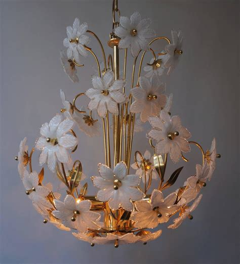Flower Chandelier Gilded Brass And Glass Flower Chandelier For Sale At 1stdibs