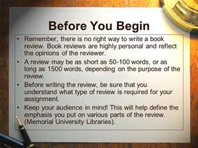 how to write a book review ppt