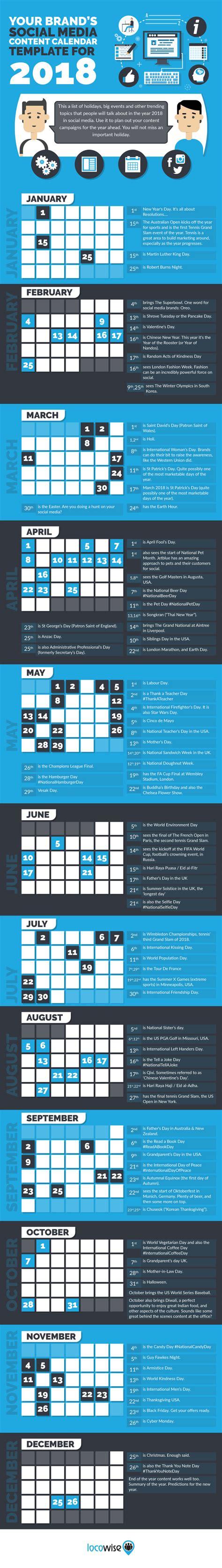 Your Brand S Social Media Content Calendar Template For 2018 Seo Land Brand Calendar Template
