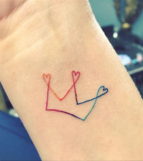 small rainbow tattoo rainbow crown multi color small
