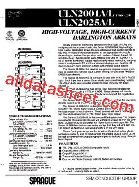 transistor uln2003a datasheet uln2003a datasheet pdf list of unclassifed manufacturers