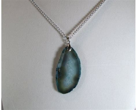 Green Agate Pendant Necklace green blue agate slice silver chain pendant necklace