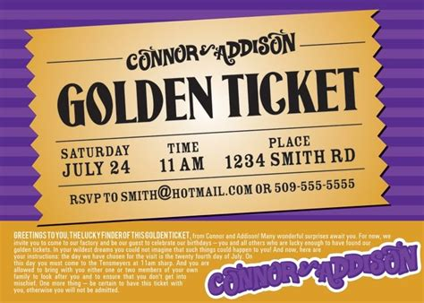 golden ticket invitation template free julie saraceno willy wonka