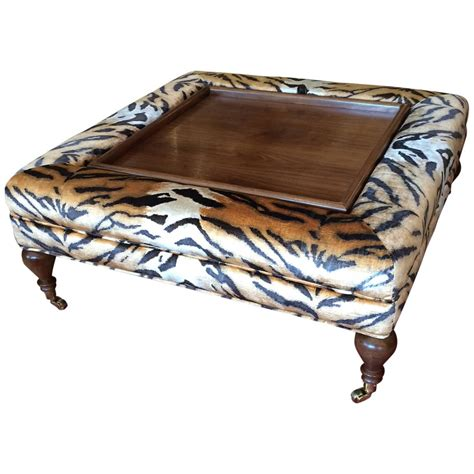 Upholstered Ottoman Coffee Table Flip Top Ottoman Coffee Table Upholstered In Scalamandre Faux Tiger At 1stdibs