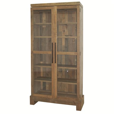 closed bookcase with glass doors four hands sierra enclosed camino bookcase with glass