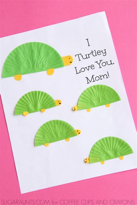 mothers day cards ideas to make turtle themed s day card coffee cups and crayons