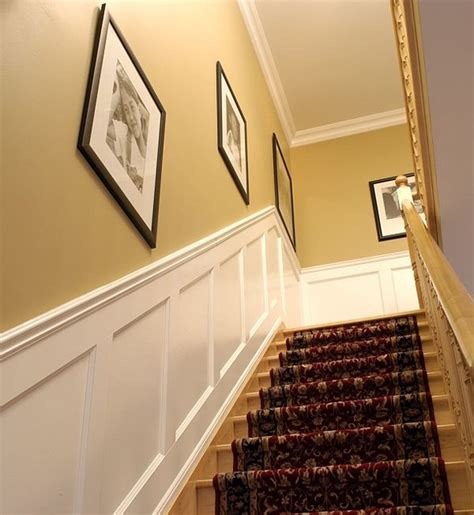 How To Put Up Wainscoting Panels Recessed Paneled Wainscoting For Stairs Traditional