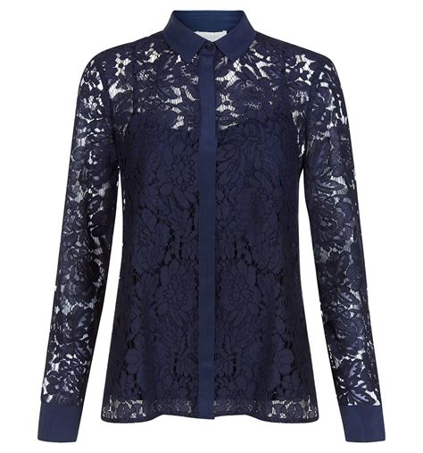 Bl3005 Lace Blouse Blue Size L blue maddie lace shirt shirts outlet tops hobbs