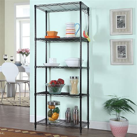 Kitchen Cabinet Wire Storage Racks 5 Tier Wire Storage Organizer Rack Black Shelving Kitchen Home Garage Shelf Unit Ebay