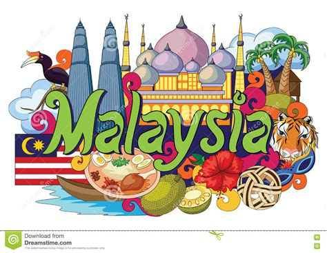 wallpaper design online malaysia doodle showing architecture and culture of malaysia stock