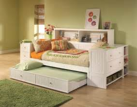 White Trundle Daybed White Daybed With Trundle And Storage Unit Also Bookcase Decofurnish