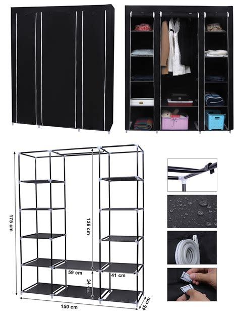 shelves for clothes in bedroom songmics xxl canvas clothes wardrobe cupboard shelves