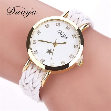 Casual Wristwatch fashion weave leather watches gold rhinestone