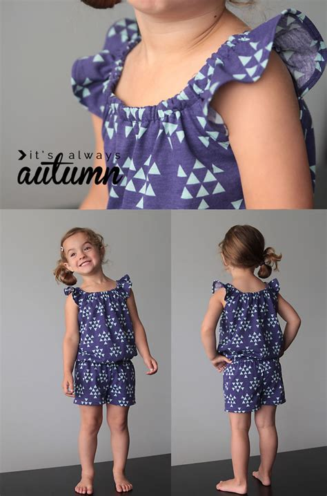 pattern jumpsuit shorts free pattern for girls flutter sleeve romper sewing