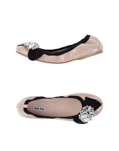 Flat Miu Miu miu miu embellished leather ballet flats in pink lyst