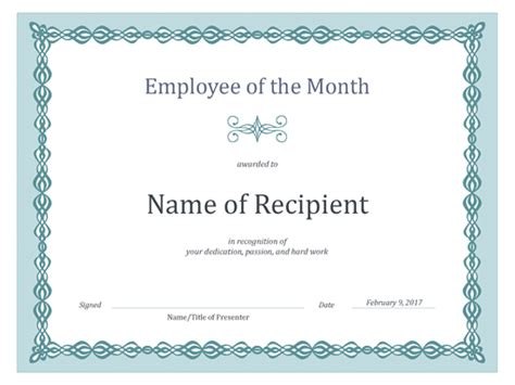 of the month certificate template certificates office