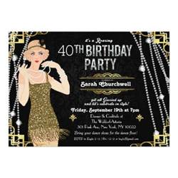 great gatsby art deco birthday invitation zazzle