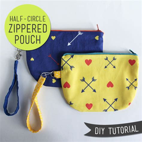 free pattern lined zippered pouch lula louise diy tutorial half circle zip pouch with