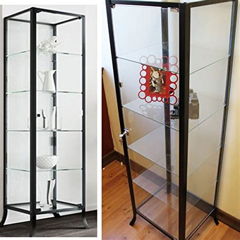 Curio Cabinet Display With Glass Door And Lock For Metal Frame Cabinet Doors