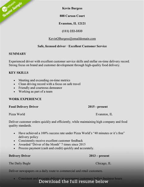 write  delivery driver resume  examples