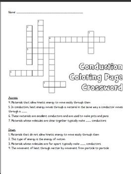 conduction coloring page crossword answer key conduction coloring page crossword answers coloring book
