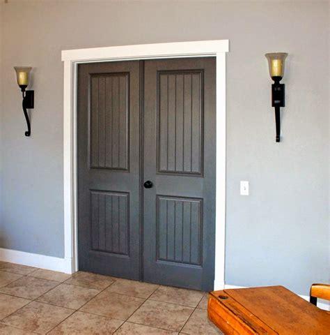 grey stained door  white trim doors  white