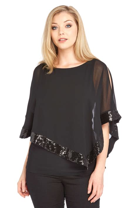 Overlap Top sequin overlay top in black originals uk